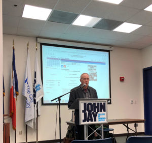 Dave speaking at a book event at John Jay College of Criminal Justice in New York City